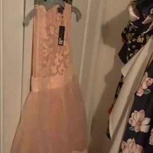 🌟GRACIA Peach Sheer Hi Lo Dress